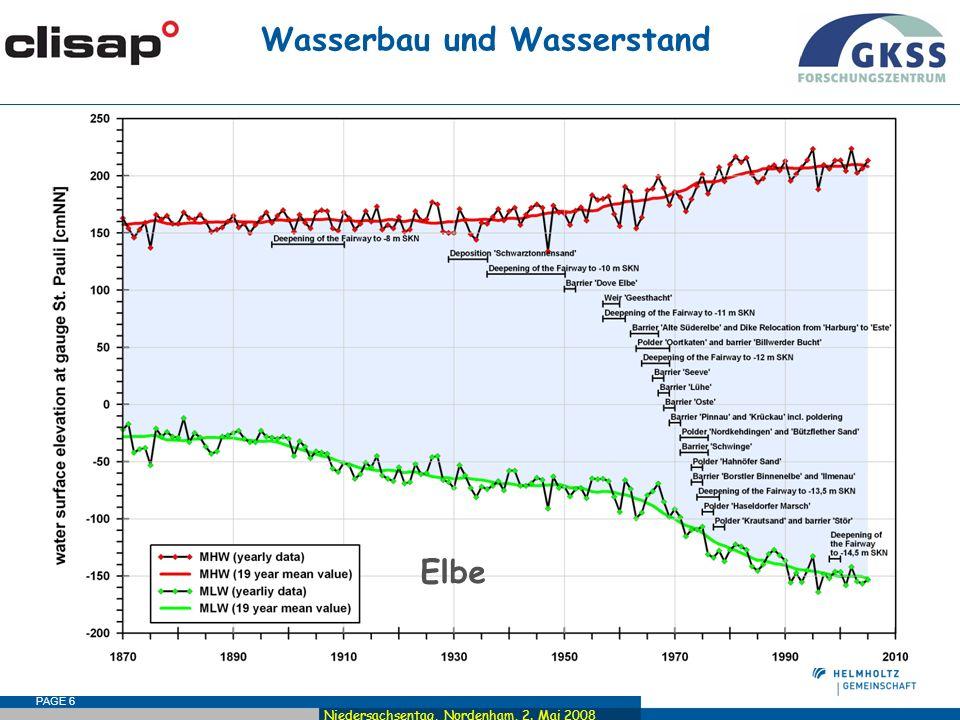 Niedersachsentag, Nordenham, 2. Mai 2008 PAGE 6 Wasserbau und Wasserstand Elbe