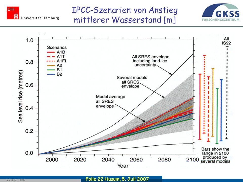 Folie 22 Husum, 5. Juli 2007 27 Juni 2007 IPCC-Szenarien von Anstieg mittlerer Wasserstand [m]