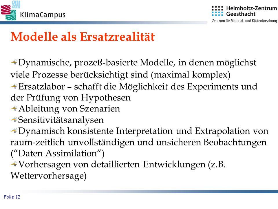 Folie 12 Modelle als Ersatzrealität Dynamische, prozeß-basierte Modelle, in denen möglichst viele Prozesse berücksichtigt sind (maximal komplex) Ersat