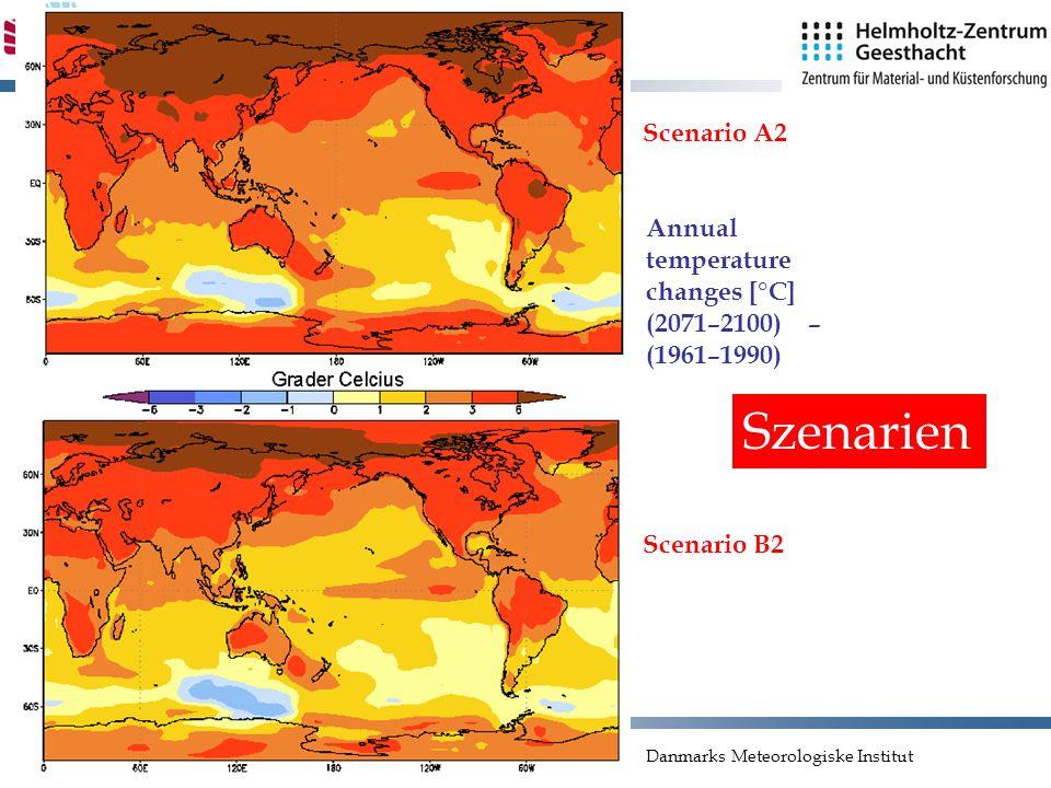 Folie 25 Scenario A2 Scenario B2 Danmarks Meteorologiske Institut Annual temperature changes [°C] (2071–2100) – (1961–1990) Szenarien