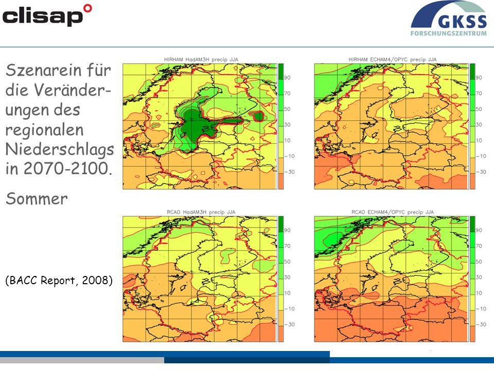 Szenarein für die Veränder- ungen des regionalen Niederschlags in 2070-2100. Sommer (BACC Report, 2008)