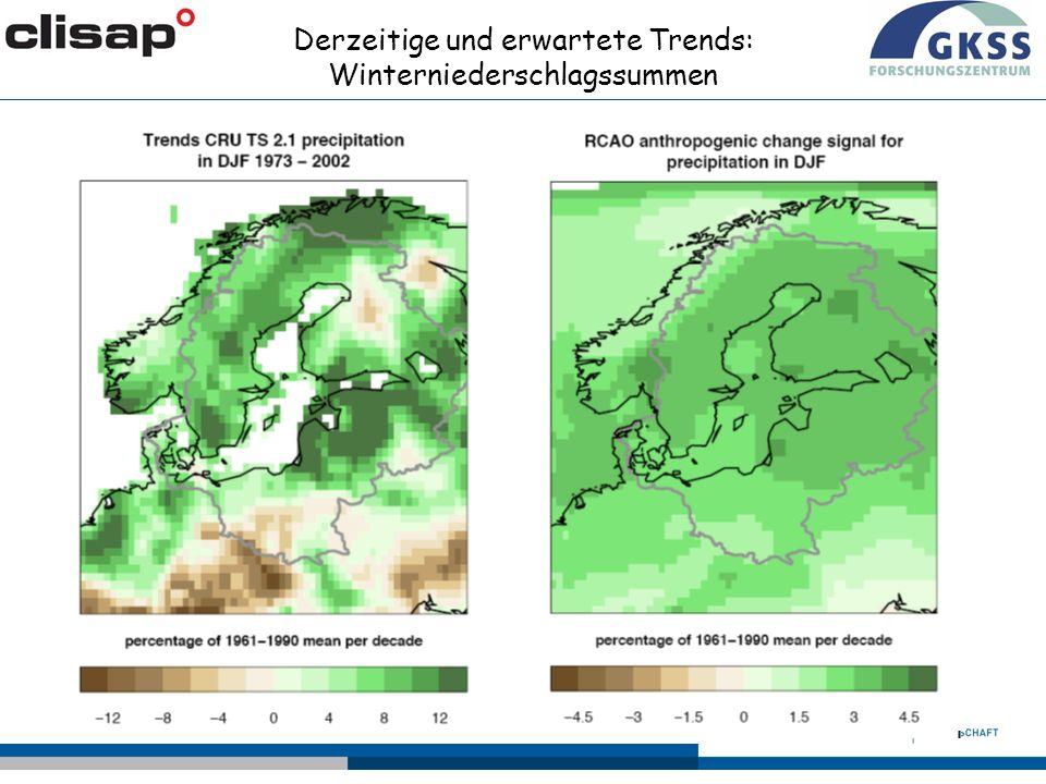 Derzeitige und erwartete Trends: Winterniederschlagssummen Δ=0.05%