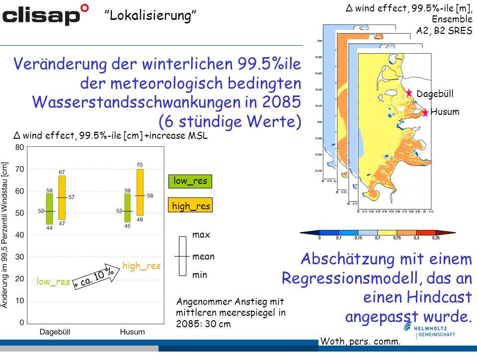 Veränderung der winterlichen 99.5%ile der meteorologisch bedingten Wasserstandsschwankungen in 2085 (6 stündige Werte) Lokalisierung Δ wind effect, 99