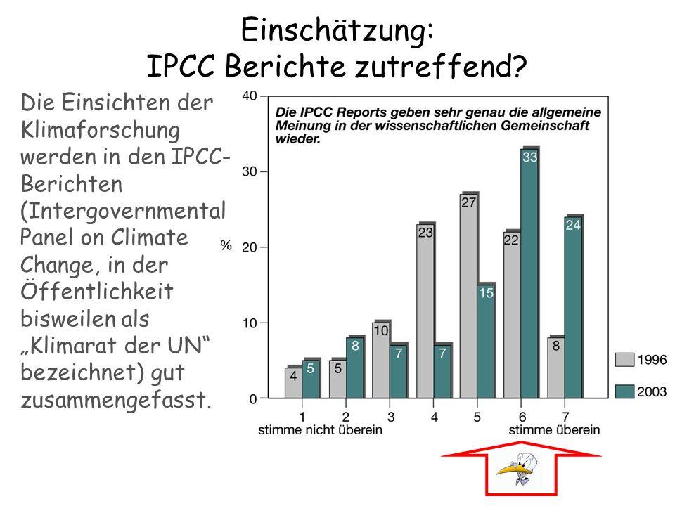 Einschätzung: IPCC Berichte zutreffend? Die Einsichten der Klimaforschung werden in den IPCC- Berichten (Intergovernmental Panel on Climate Change, in