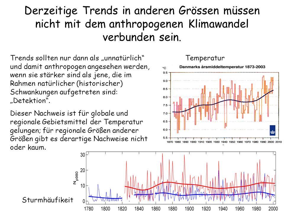 Derzeitige Trends in anderen Grössen müssen nicht mit dem anthropogenen Klimawandel verbunden sein. Trends sollten nur dann als unnatürlich und damit