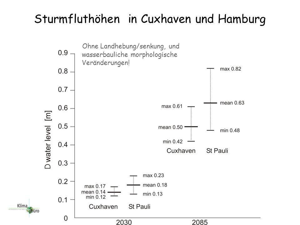 Sturmfluthöhen in Cuxhaven und Hamburg Ohne Landhebung/senkung, und wasserbauliche morphologische Veränderungen!
