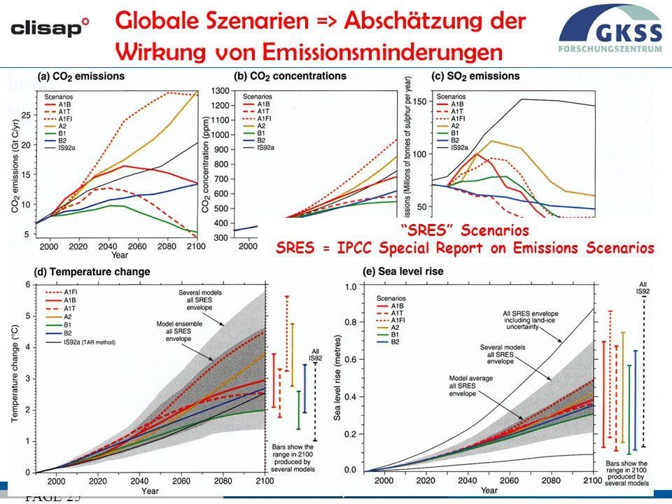#25 Wien, 26/02/09 PAGE 25 SRES Scenarios SRES = IPCC Special Report on Emissions Scenarios Globale Szenarien => Abschätzung der Wirkung von Emissionsminderungen