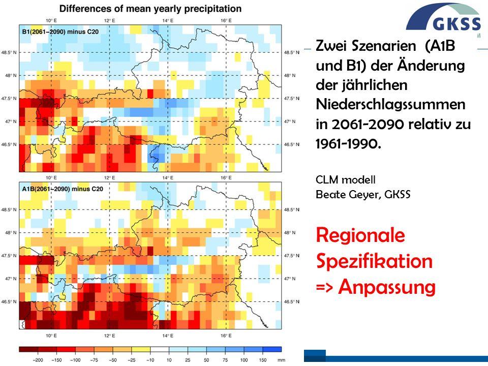 #26 Wien, 26/02/09 Zwei Szenarien (A1B und B1) der Änderung der jährlichen Niederschlagssummen in 2061-2090 relativ zu 1961-1990. CLM modell Beate Gey