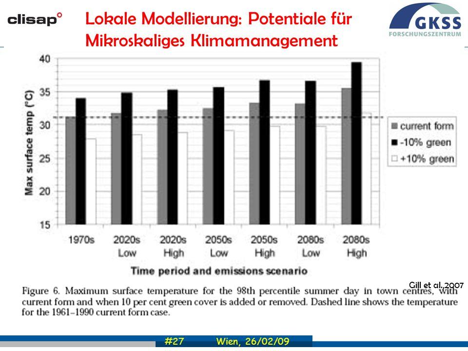 #27 Wien, 26/02/09 Gill et al.,2007 Lokale Modellierung: Potentiale für Mikroskaliges Klimamanagement