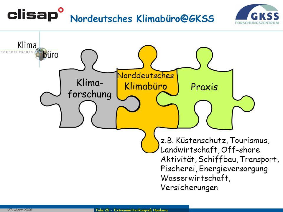 Folie 25 - Extremwetterkongreß, Hamburg 27. März 2008 Praxis Klima- forschung Norddeutsches Klimabüro Nordeutsches Klimabüro@GKSS Norddeutsches Klimab