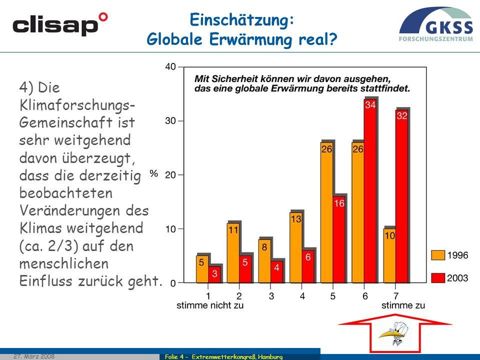 Folie 4 - Extremwetterkongreß, Hamburg 27. März 2008 Einschätzung: Globale Erwärmung real? 4) Die Klimaforschungs- Gemeinschaft ist sehr weitgehend da