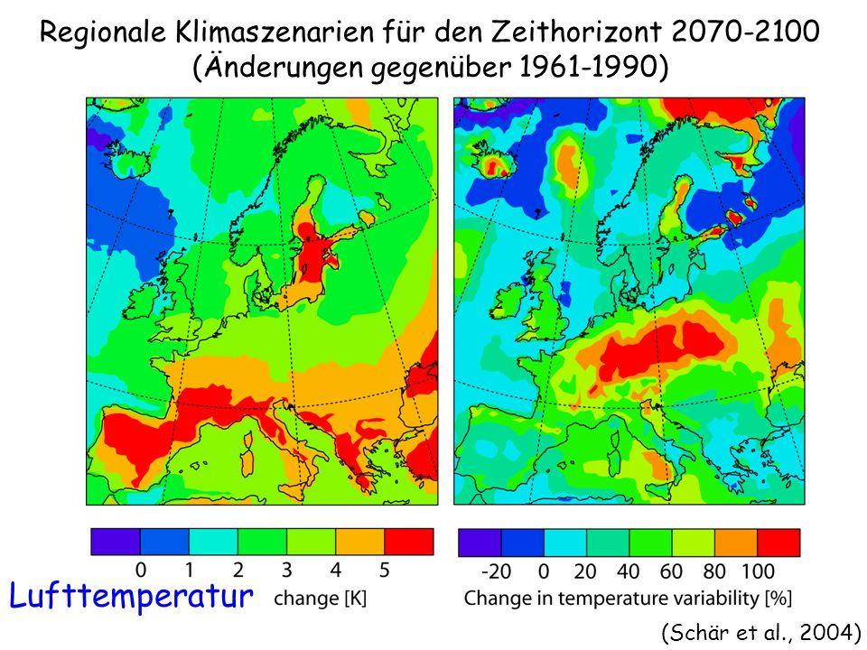 (Schär et al., 2004) Regionale Klimaszenarien für den Zeithorizont 2070-2100 (Änderungen gegenüber 1961-1990) Lufttemperatur