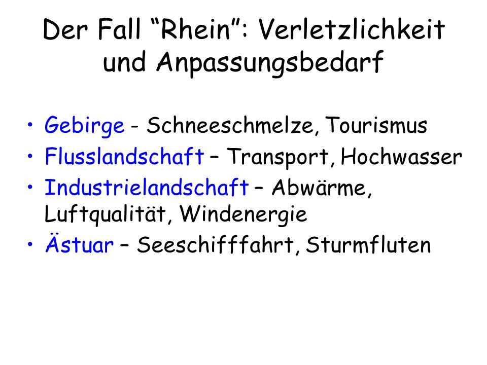 Der Fall Rhein: Verletzlichkeit und Anpassungsbedarf Gebirge - Schneeschmelze, Tourismus Flusslandschaft – Transport, Hochwasser Industrielandschaft –