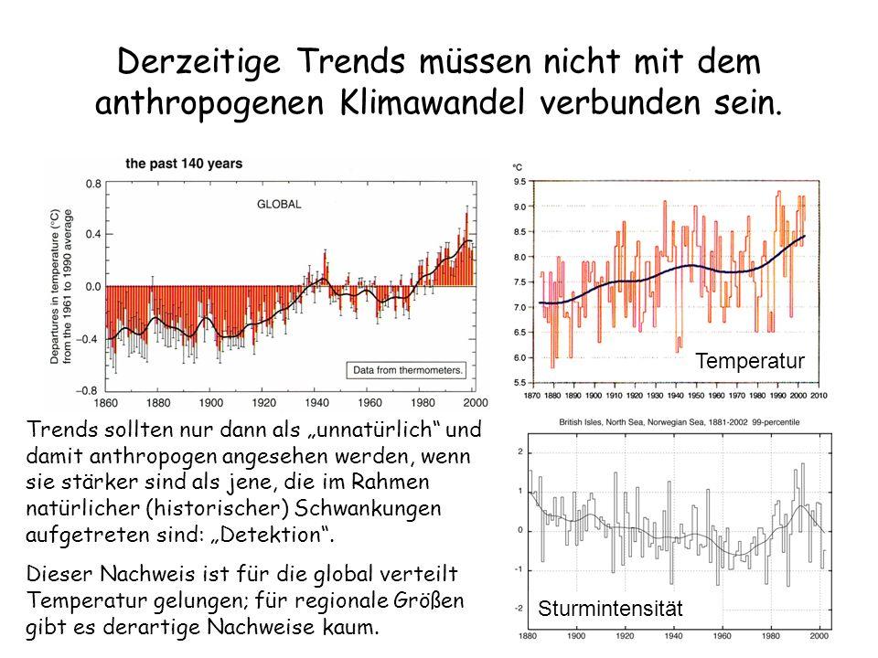 Derzeitige Trends müssen nicht mit dem anthropogenen Klimawandel verbunden sein. Trends sollten nur dann als unnatürlich und damit anthropogen angeseh