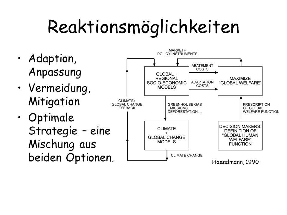 Reaktionsmöglichkeiten Adaption, Anpassung Vermeidung, Mitigation Optimale Strategie – eine Mischung aus beiden Optionen. Hasselmann, 1990