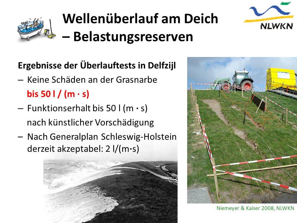 Wellenüberlauf am Deich – Belastungsreserven Ergebnisse der Überlauftests in Delfzijl – Keine Schäden an der Grasnarbe bis 50 l / (m s) – Funktionserh