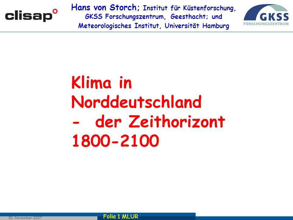 Folie 22 MLUR 30. November 2007 Derzeitige und erwartete Trends: Winterniederschlagssummen Δ=0.05%