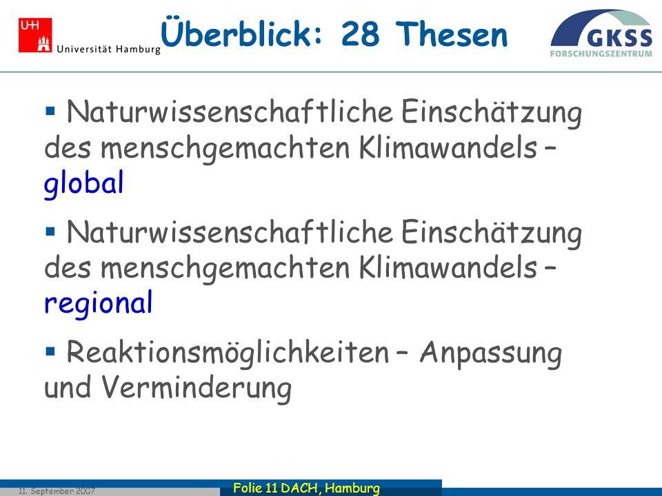 Folie 11 DACH, Hamburg 11. September 2007 Überblick: 28 Thesen Naturwissenschaftliche Einschätzung des menschgemachten Klimawandels – global Naturwiss