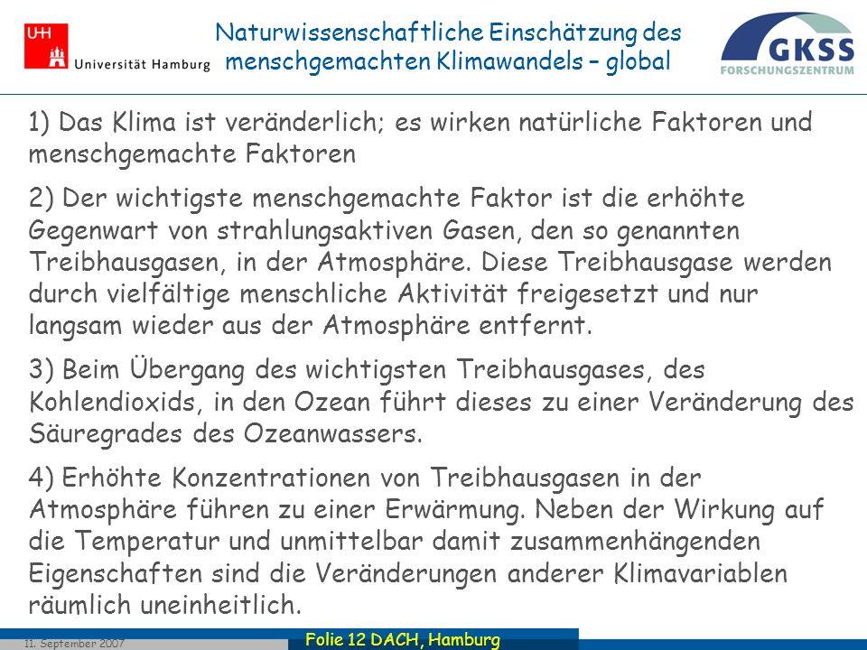 Folie 12 DACH, Hamburg 11. September 2007 1) Das Klima ist veränderlich; es wirken natürliche Faktoren und menschgemachte Faktoren 2) Der wichtigste m