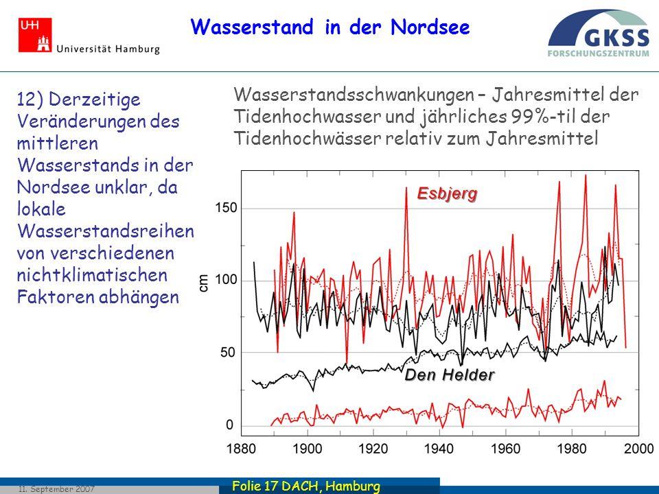 Folie 17 DACH, Hamburg 11. September 2007 Wasserstand in der Nordsee Wasserstandsschwankungen – Jahresmittel der Tidenhochwasser und jährliches 99%-ti