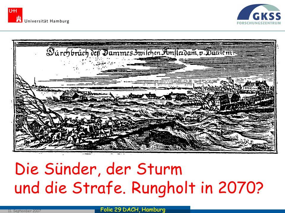 Folie 29 DACH, Hamburg 11. September 2007 Die Sünder, der Sturm und die Strafe. Rungholt in 2070?