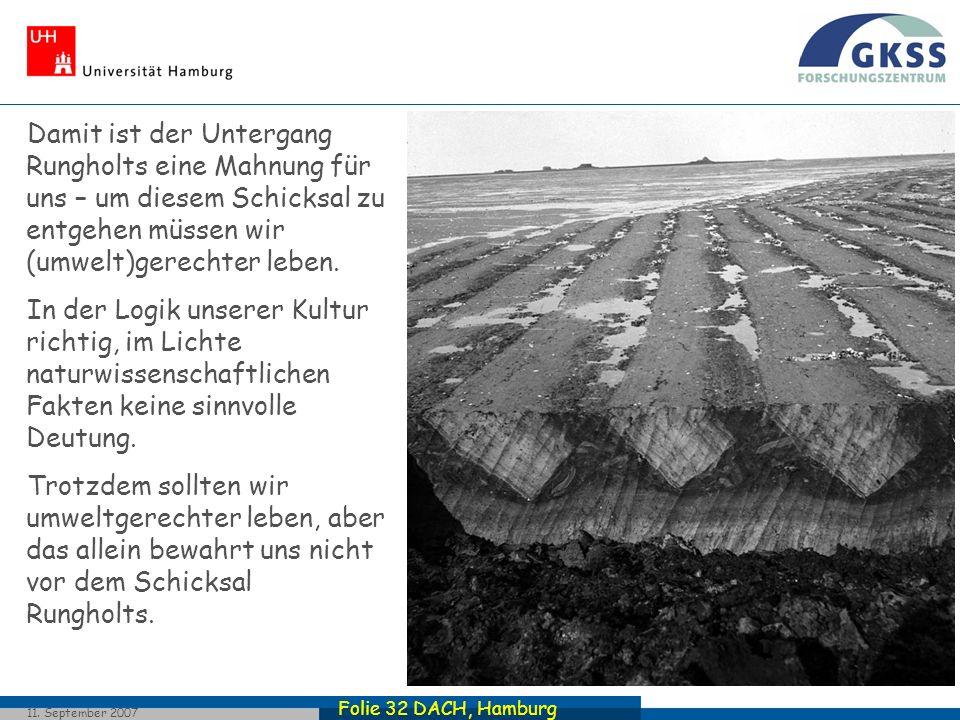 Folie 32 DACH, Hamburg 11. September 2007 Damit ist der Untergang Rungholts eine Mahnung für uns – um diesem Schicksal zu entgehen müssen wir (umwelt)