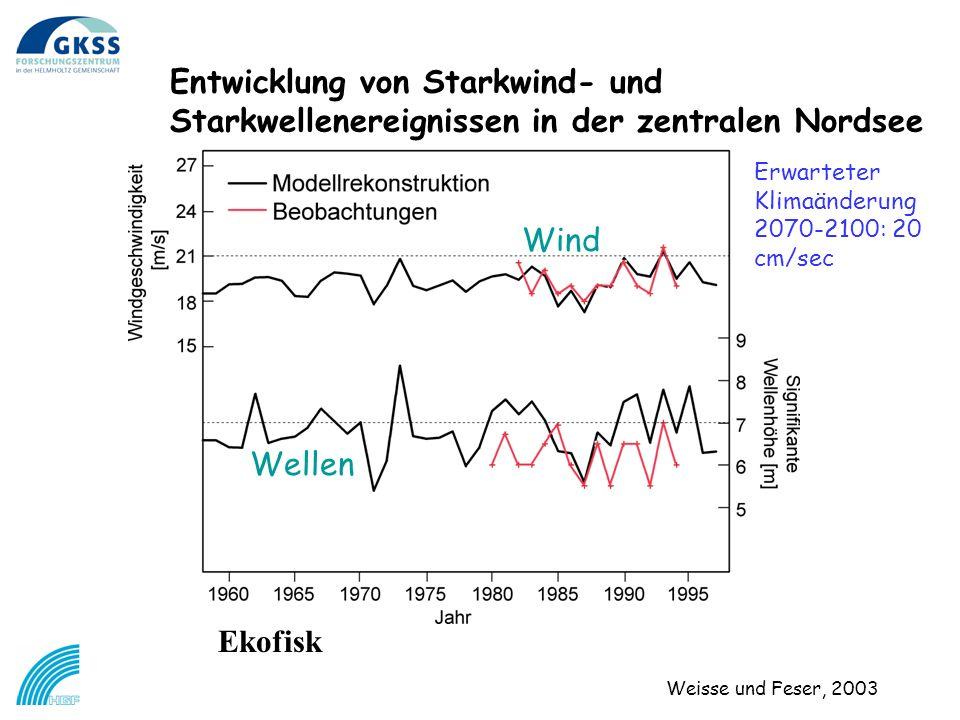 Ekofisk Entwicklung von Starkwind- und Starkwellenereignissen in der zentralen Nordsee Weisse und Feser, 2003 Wind Wellen Erwarteter Klimaänderung 2070-2100: 20 cm/sec