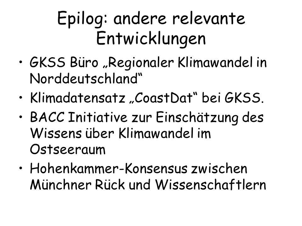 Epilog: andere relevante Entwicklungen GKSS Büro Regionaler Klimawandel in Norddeutschland Klimadatensatz CoastDat bei GKSS. BACC Initiative zur Einsc