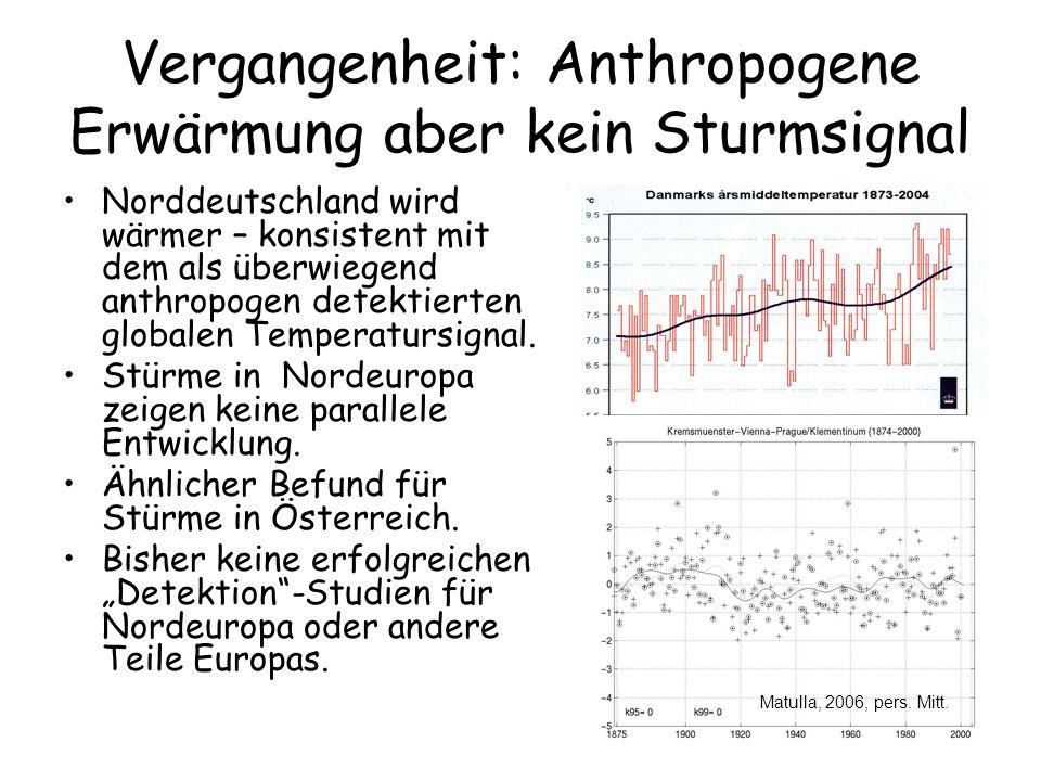Vergangenheit: Anthropogene Erwärmung aber kein Sturmsignal Norddeutschland wird wärmer – konsistent mit dem als überwiegend anthropogen detektierten
