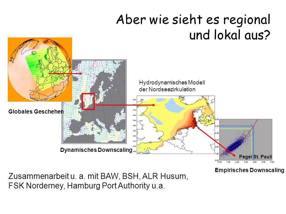 Katja Woth Globales Geschehen Dynamisches Downscaling Hydrodynamisches Modell der Nordseezirkulation Empirisches Downscaling Pegel St. Pauli Zusammena
