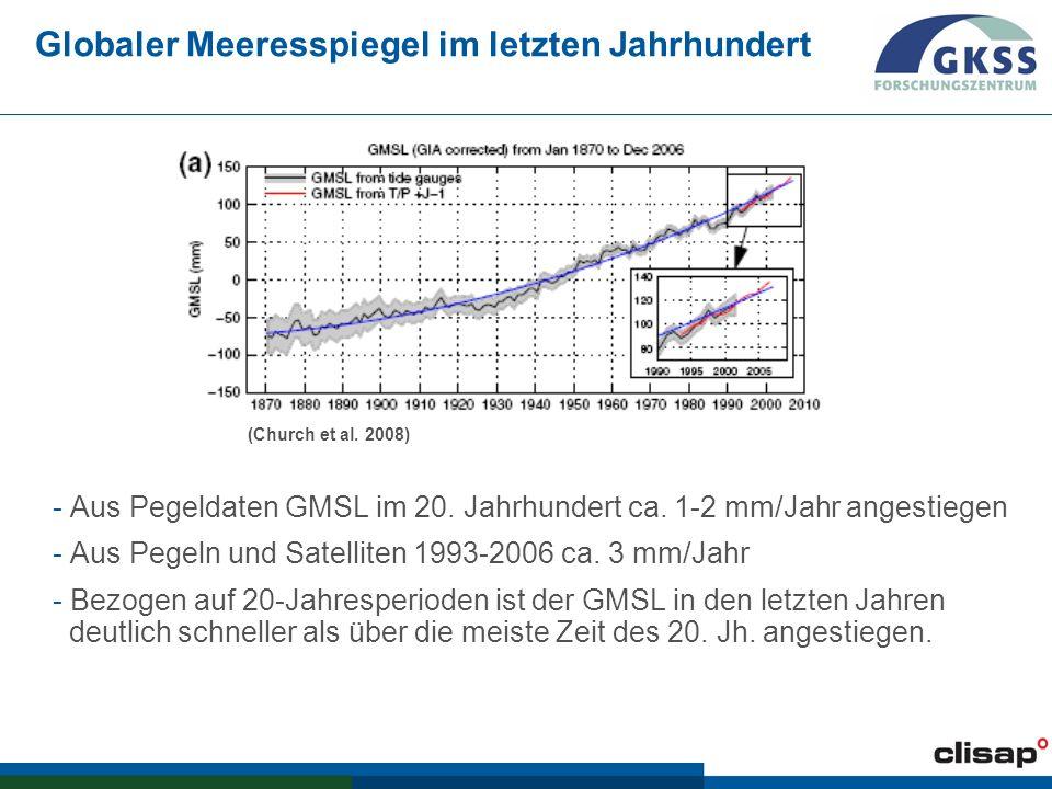 PAGE 20 Erwartete Erhöhung für 2070-2100 der windbedingten extremen Wasserstände (99.5%ile) gemäß den Szenarien A2 und B2 und zwei verschiedenen Klimamodellen.