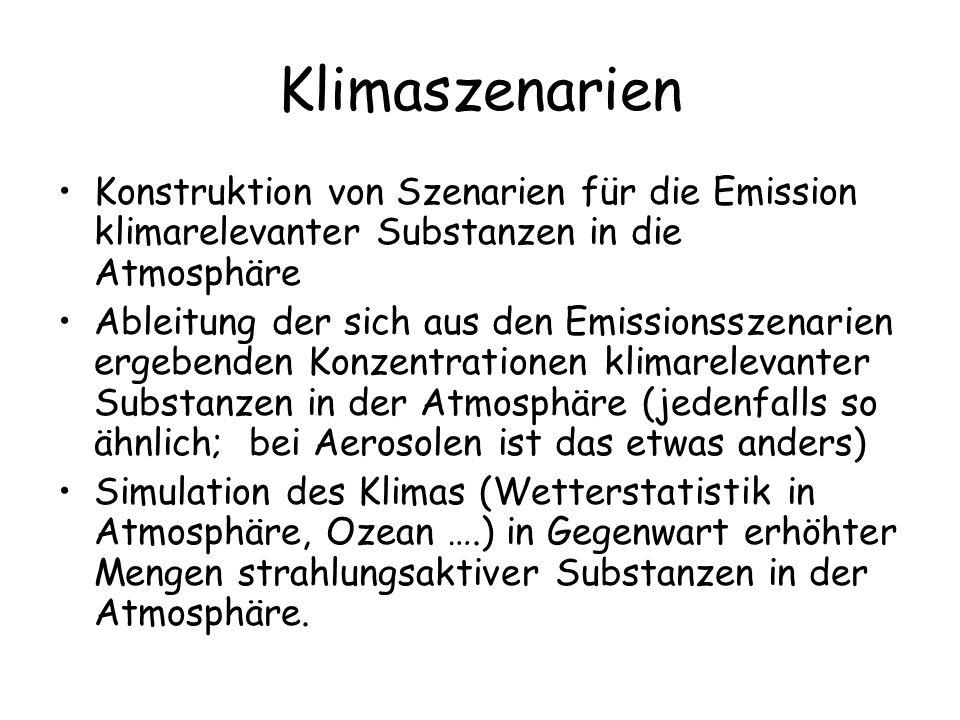 Klimaszenarien Konstruktion von Szenarien für die Emission klimarelevanter Substanzen in die Atmosphäre Ableitung der sich aus den Emissionsszenarien