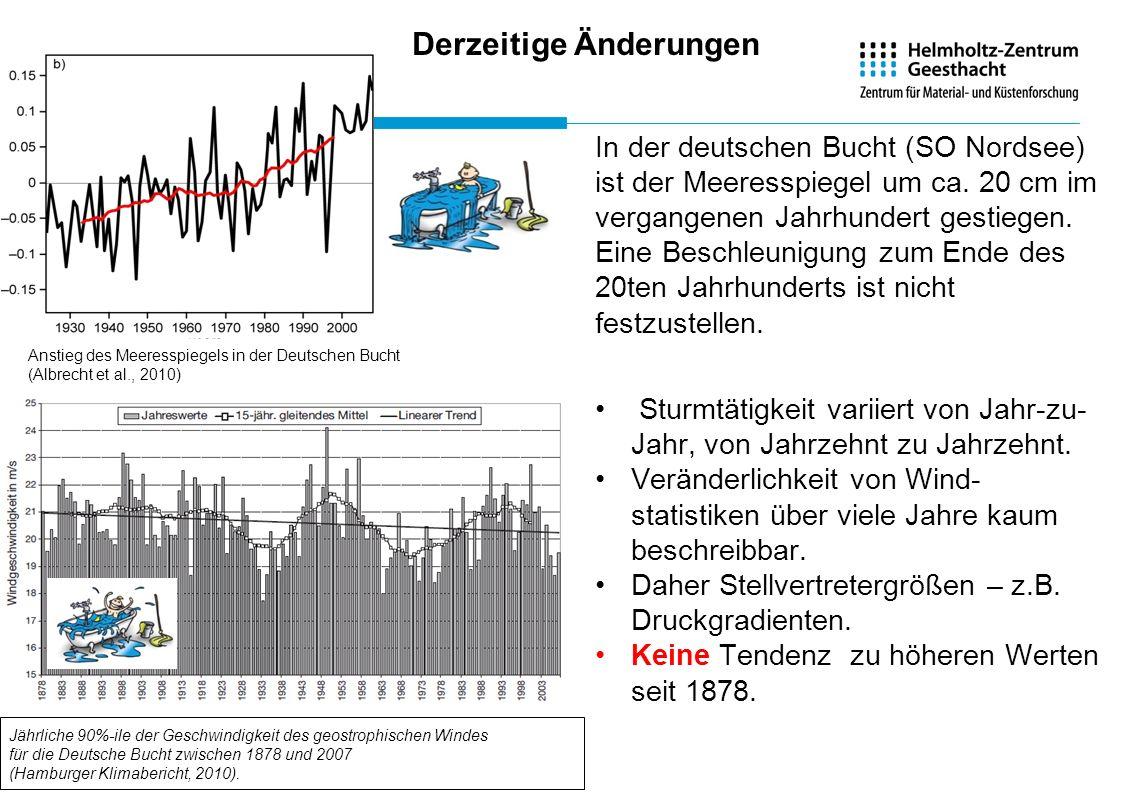 Jährliche 90%-ile der Geschwindigkeit des geostrophischen Windes für die Deutsche Bucht zwischen 1878 und 2007 (Hamburger Klimabericht, 2010). In der