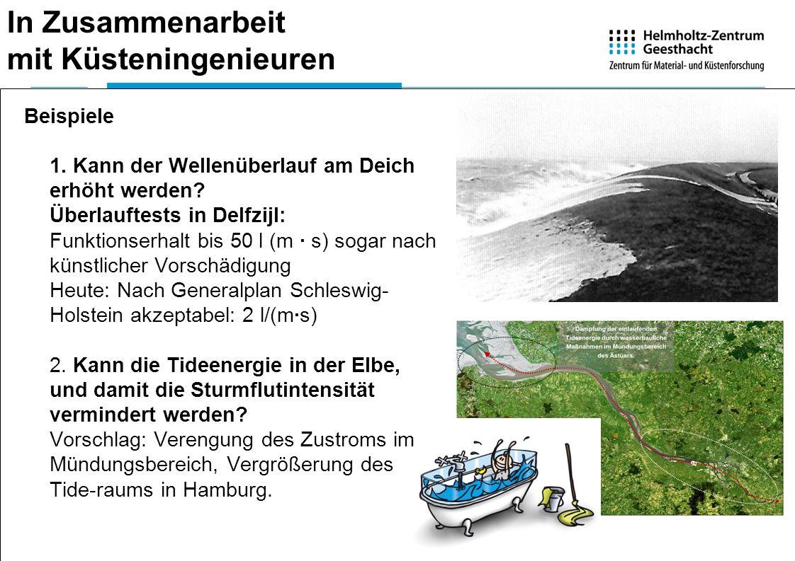 In Zusammenarbeit mit Küsteningenieuren Beispiele 1. Kann der Wellenüberlauf am Deich erhöht werden? Überlauftests in Delfzijl: Funktionserhalt bis 50