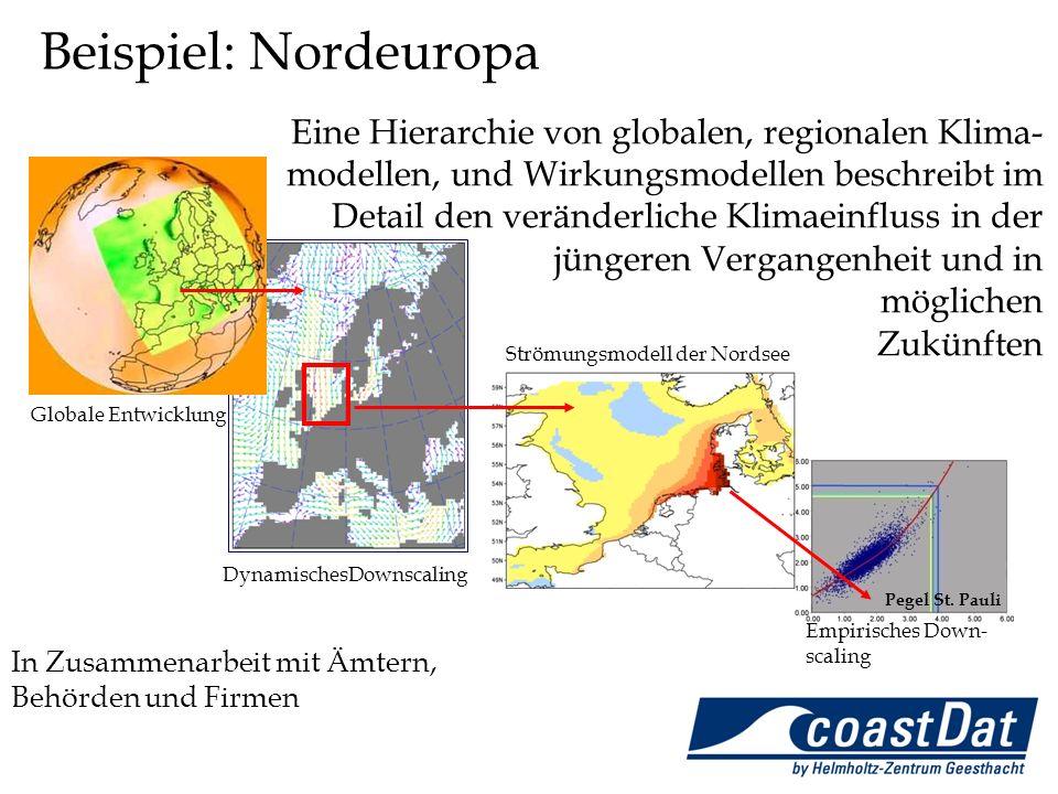 Globale Entwicklung DynamischesDownscaling Strömungsmodell der Nordsee Empirisches Down- scaling Pegel St. Pauli In Zusammenarbeit mit Ämtern, Behörde