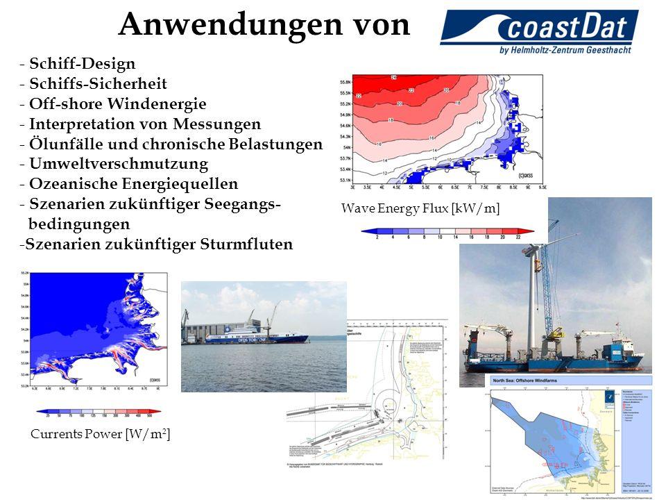 Wave Energy Flux [kW/m] Currents Power [W/m 2 ] Anwendungen von - Schiff-Design - Schiffs-Sicherheit - Off-shore Windenergie - Interpretation von Mess