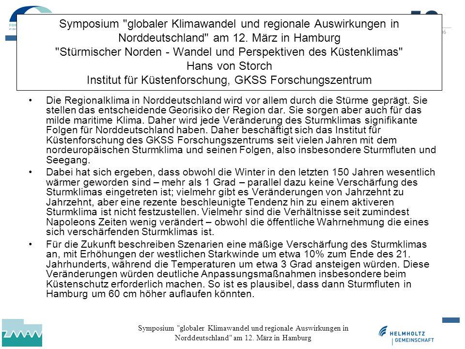 Symposium globaler Klimawandel und regionale Auswirkungen in Norddeutschland am 12.