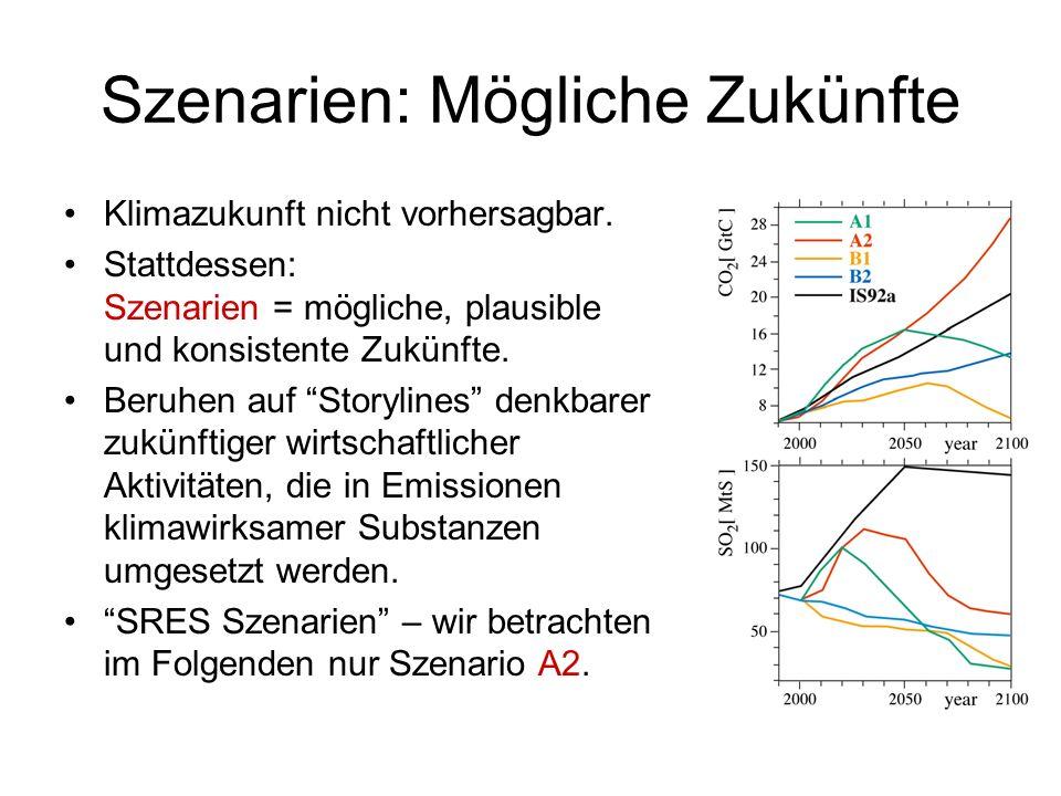 IPCC – Globale Klimaszenarien 1990 - 2100 Global gemittelte Lufttemperatur – steigt bis 2100 um im Mittel 3K Global gemittelter Wasserstand – steigt bis 2100 um im Mittel 40 cm Temperatur Wasserstan d