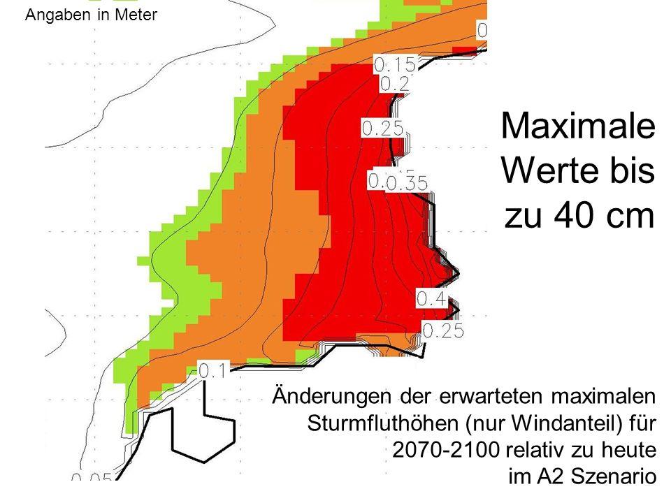 Gesamtveränderung im möglichen, aber pessimistischen A2-Szenario: bis zu 40 cm Windstau, + 40 cm Wasserspiegel 80 cm in 2100.