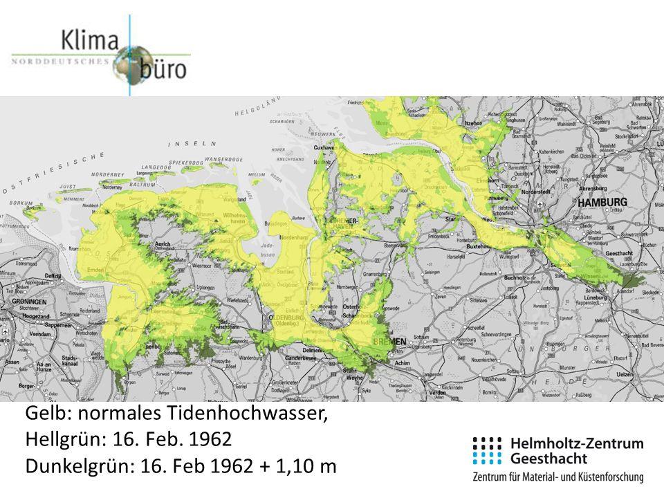 Gelb: normales Tidenhochwasser, Hellgrün: 16. Feb. 1962 Dunkelgrün: 16. Feb 1962 + 1,10 m