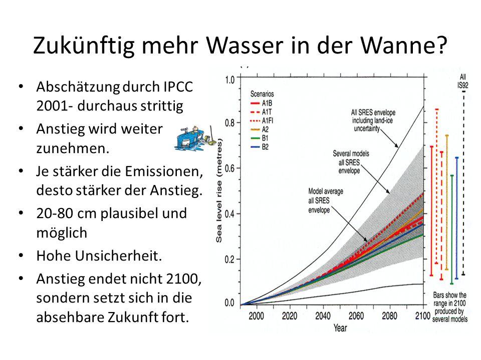 Zukünftig mehr Wasser in der Wanne? Abschätzung durch IPCC 2001- durchaus strittig Anstieg wird weiter zunehmen. Je stärker die Emissionen, desto stär