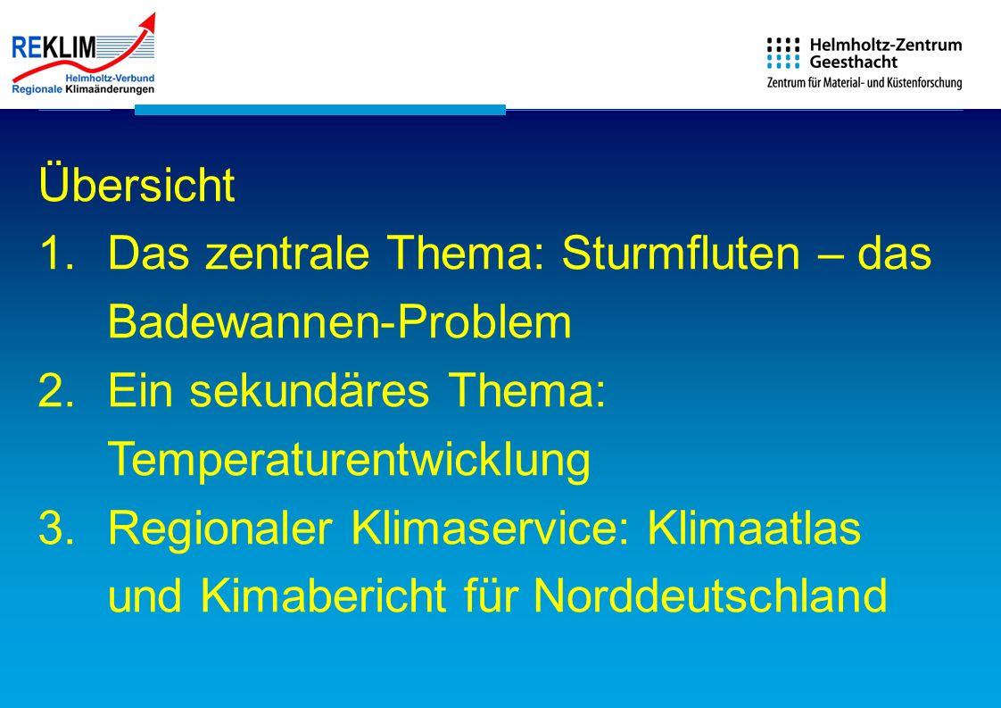 Übersicht 1.Das zentrale Thema: Sturmfluten – das Badewannen-Problem 2.Ein sekundäres Thema: Temperaturentwicklung 3.Regionaler Klimaservice: Klimaatl