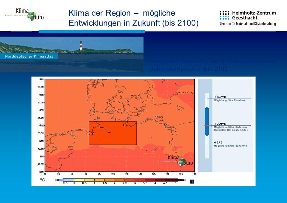 Klima der Region – mögliche Entwicklungen in Zukunft (bis 2100) Mögliche Änderung der durchschnittlichen Jahrestemperatur bis 2100