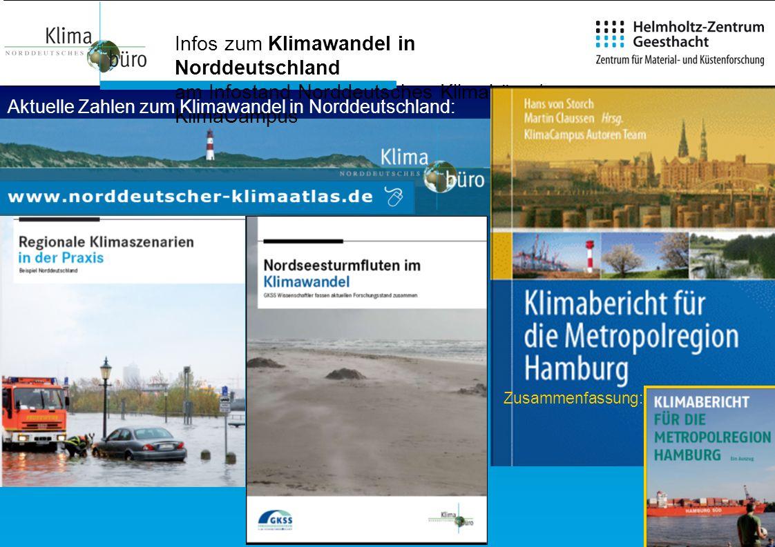 Infos zum Klimawandel in Norddeutschland am Infostand Norddeutsches Klimabüro / KlimaCampus Zusammenfassung: Aktuelle Zahlen zum Klimawandel in Nordde