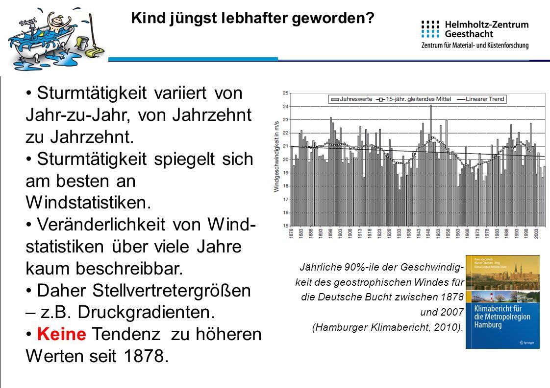 Kind jüngst lebhafter geworden? Jährliche 90%-ile der Geschwindig- keit des geostrophischen Windes für die Deutsche Bucht zwischen 1878 und 2007 (Hamb
