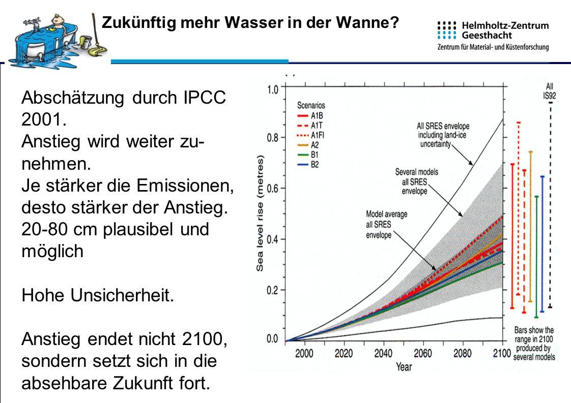 Abschätzung durch IPCC 2001. Anstieg wird weiter zu- nehmen. Je stärker die Emissionen, desto stärker der Anstieg. 20-80 cm plausibel und möglich Hohe