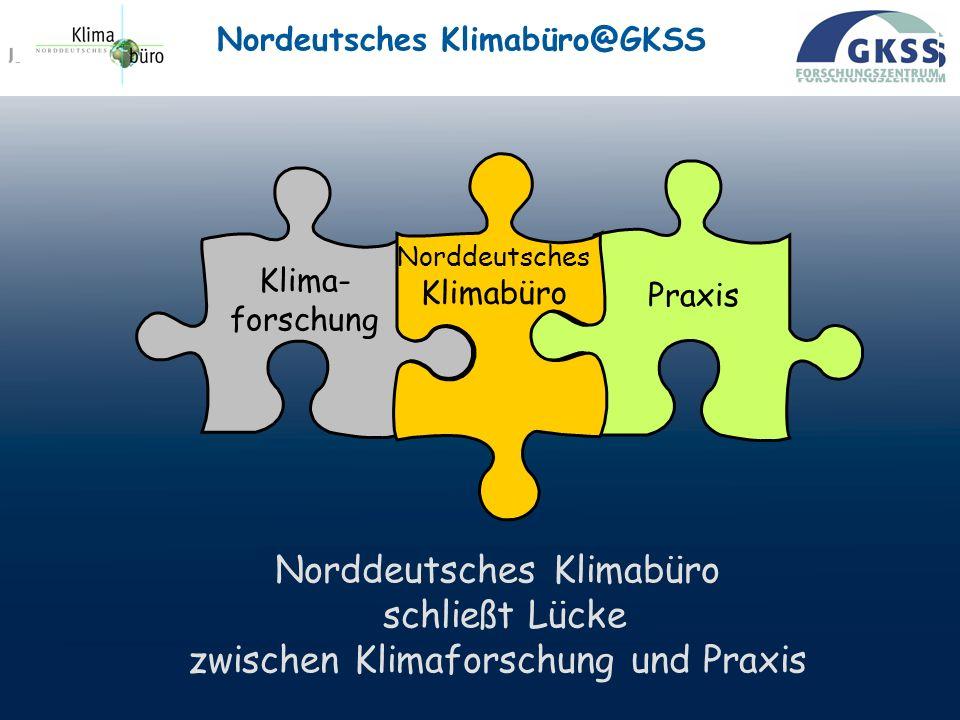 PAGE 8 Praxis Klima- forschung Norddeutsches Klimabüro Norddeutsches Klimabüro schließt Lücke zwischen Klimaforschung und Praxis Nordeutsches Klimabüro@GKSS