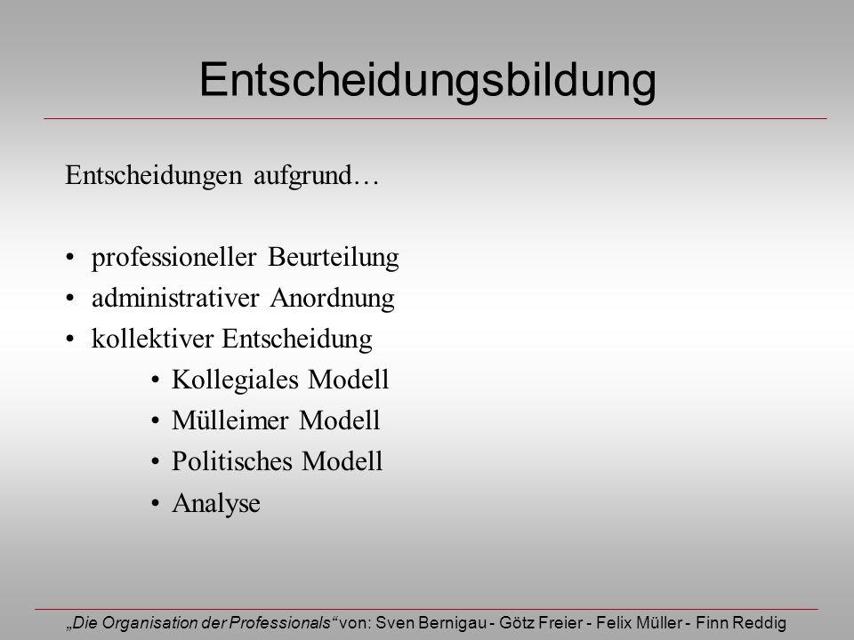 Die Organisation der Professionals von: Sven Bernigau - Götz Freier - Felix Müller - Finn Reddig Entscheidungsbildung Entscheidungen aufgrund… profess
