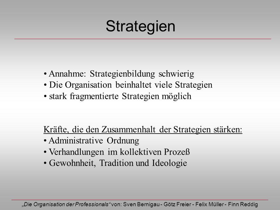 Die Organisation der Professionals von: Sven Bernigau - Götz Freier - Felix Müller - Finn Reddig Strategien Annahme: Strategienbildung schwierig Die O