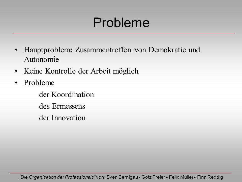 Die Organisation der Professionals von: Sven Bernigau - Götz Freier - Felix Müller - Finn Reddig Probleme Hauptproblem: Zusammentreffen von Demokratie